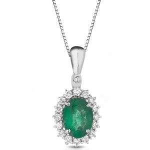 Collana oro 18k con Diamanti e Smeraldi 1,25 Ct mod. PSOC1070