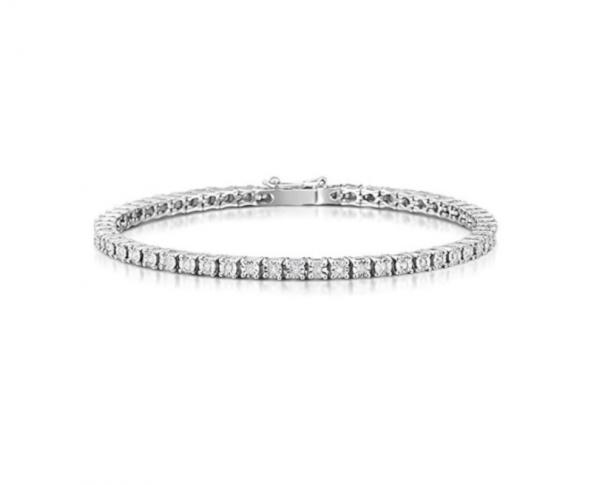Bracciale tennis in argento 925 con pietre zirconi taglio diamante mod. BRWRO3MM20