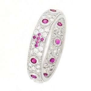 Anello rosario con pavè di zirconi bianchi e rosa mod. AN30541050