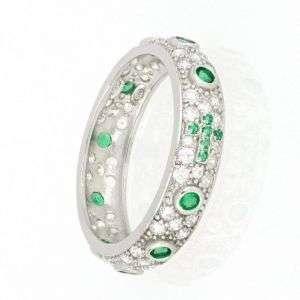 Anello rosario con pavè di zirconi bianchi e verdi mod. AN30561050