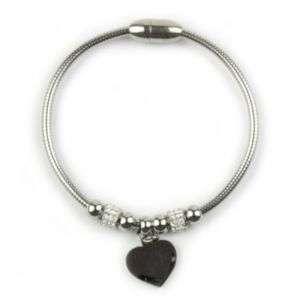 Bracciale in acciaio lucido con charm a forma di cuore personalizzabile mod. ACBR11