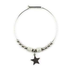 Bracciale in acciaio con charm a forma di stella personalizzabile mod. ACBR11-1