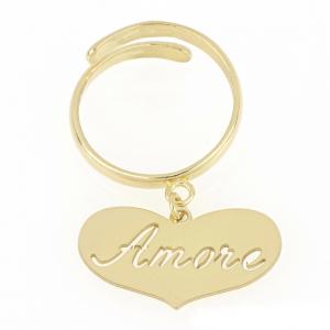 """Anello donna in argento 925 dorato con cuore e incisione """"Amore"""" mod. ANAMOREDO"""