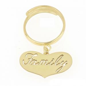 """Anello donna in argento 925 dorato con cuore e incisione """"Family"""" mod. ANFAMILYDO"""