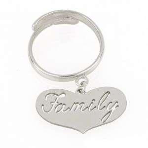 """Anello in argento 925 con cuore e incisione """"Family"""" mod. ANFAMILYRO"""