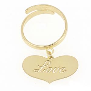 """Anello donna in argento 925 dorato con cuore e incisione """"Love"""" mod. ANLOVEDO"""
