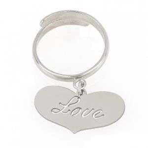 """Anello donna in argento 925 con cuore e incisione """"Love"""" mod. ANLOVERO"""