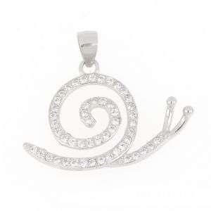 """Ciondolo in argento 925 a forma di spirale di """"Lumaca"""" con pietre bianche mod. CI2642"""