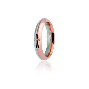 FEDE ETERNA UNOAERRE IN ORO BIANCO E ROSA 3DIAM.CT 0.01 LARGA 4MM mod.070AFC290-0030