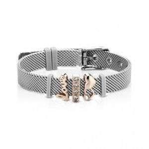 """Bracciale donna Ops in acciaio con cuori e scritta """"love"""" mod. BR-561"""