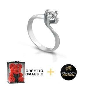 Anello Solitario oro 18K con diamante da 0,05 a 0,12 CT + Bear Omaggio