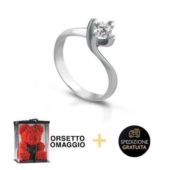 Anello Solitario oro 18K con diamante da 0,05 a 0,12 CT + Bear Omaggio