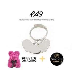 Anello argento 925 con cuori pendenti personalizzabile + orsetto rosa mod. anello+bear rosa