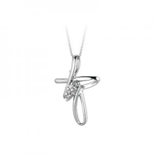 Croce donna stilizzata in oro bianco 18 kt e diamanti mod. 1015
