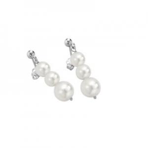 Orecchini in oro bianco 18 kt e perle mod. 386B CORTO