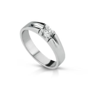Anello in oro bianco 18 kt e diamante da CT 0,30 mod. ANUOMO01-030