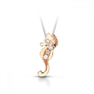 Ciondolo cavalluccio marino in oro rosa 18 kt e diamanti mod. CIOCMARINO-ORP