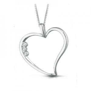 Ciondolo cuore in oro bianco 18 kt e diamanti mod. CIOJULIET1