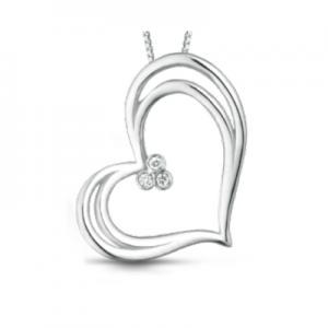 Ciondolo cuore in oro bianco 18 kt e diamanti mod. CIOJULIET3