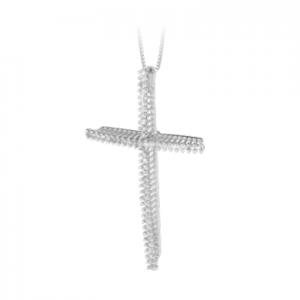 Croce donna classica in oro bianco 18 kt e diamanti mod. CRRA01