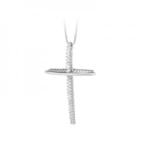 Croce donna classica in oro bianco 18 kt e diamanti mod. CRRA02