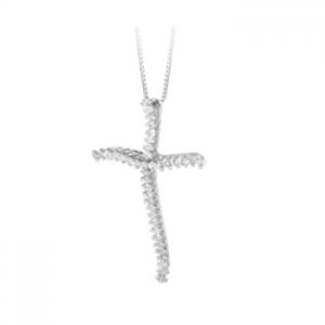 Croce donna classica in oro bianco 18 kt e diamanti mod. CRRAS01
