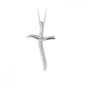 Croce donna classica in oro bianco 18 kt e diamanti mod. CRRAS02