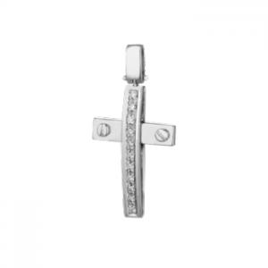 Croce in oro bianco 18 kt e diamanti mod. CRU249