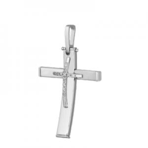 Croce oro bianco 18 kt e diamanti mod. CRU250