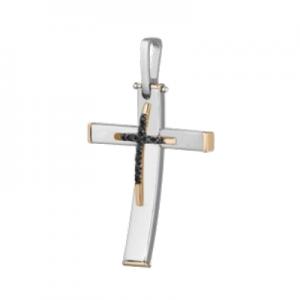 Croce in oro 18 kt bicolore e diamanti neri mod. CRU250NBIC