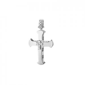 Croce uomo in oro bianco 18 kt e diamanti mod. CRU287