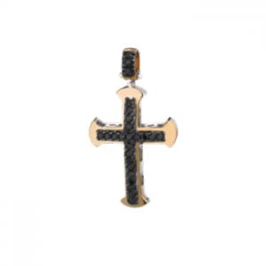 Croce in oro rosa 18 kt e diamanti neri mod. CRU289NBIC