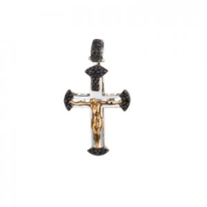 Croce in oro 18 kt bicolore e diamanti neri mod. CRU290NBIC