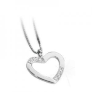 Ciondolo a cuore oro bianco 18 kt con diamanti mod. CUO002