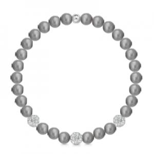 Bracciale di perle grigie a molla + 3 sfere zirconate mod. 241BMOL/G