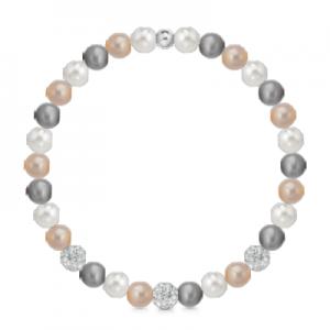 Bracciale di perle multicolor a molla + 3 sfere zirconate mod. 241BMOL/MUL