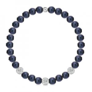 Bracciale di perle nere a molla + 3 sfere zirconate mod. 241BMOL/N
