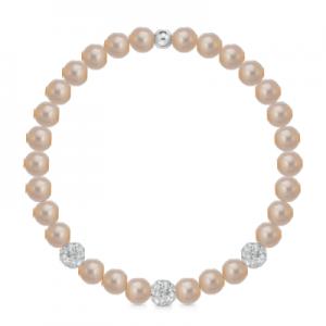 Bracciale di perle rosa a molla + 3 sfere zirconate mod. 241BMOL/R