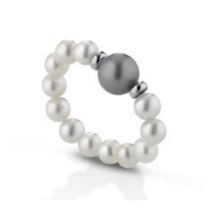 Anello di perle a molla con distanziatori in oro bianco 18 kt mod. 478BG MOLLA