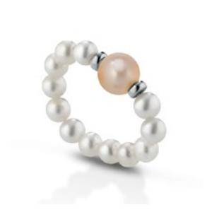 Anello di perle a molla con distanziatori in oro bianco 18 kt mod. 478BR MOLLA