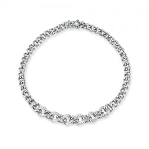 Bracciale donna a catena in oro bianco 18 kt e diamanti mod. BRBOND-OB/1