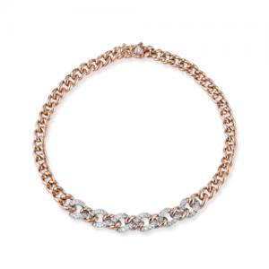 Bracciale donna a catena in oro rosa 18 kt e diamanti mod. BRBOND-OR/1