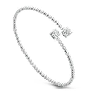 Bracciale donna rigido in oro bianco 18 kt e diamanti mod. BRTOY