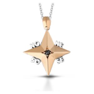 Ciondolo uomo in oro 18 kt bicolore e diamanti neri mod. CIOUOMO22N/OR