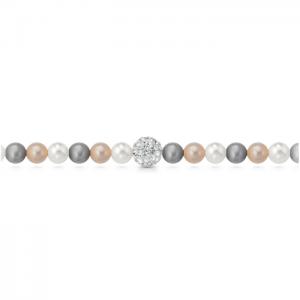 Bracciale di perle multicolor con sfera zirconata centrale mod. BRMULTI/SW