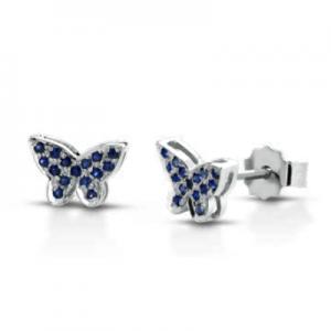 Orecchini farfalla in oro bianco 18 kt e zaffiri mod. ORFARFAL-PZ