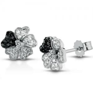 Orecchini in oro bianco 18 kt con diamanti bianchi e neri mod. ORIRIS