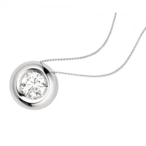 Collana con punto luce cipollina in oro bianco 18 kt e diamante mod. PLC0