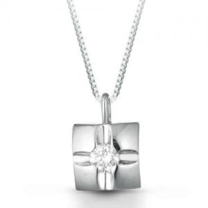 Collana con punto luce a croce in oro bianco 18 kt e diamante mod. PLCR0