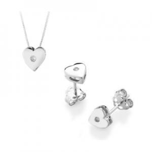 Parure cuore in oro bianco 18 kt e diamanti mod. PLCU0015+PLCU003